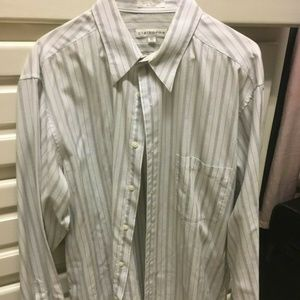 Claiborne Mens White/Blue Pinstripe Dress Shirt